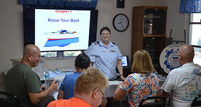 USCGAUX Member teaching boating safety in classroom